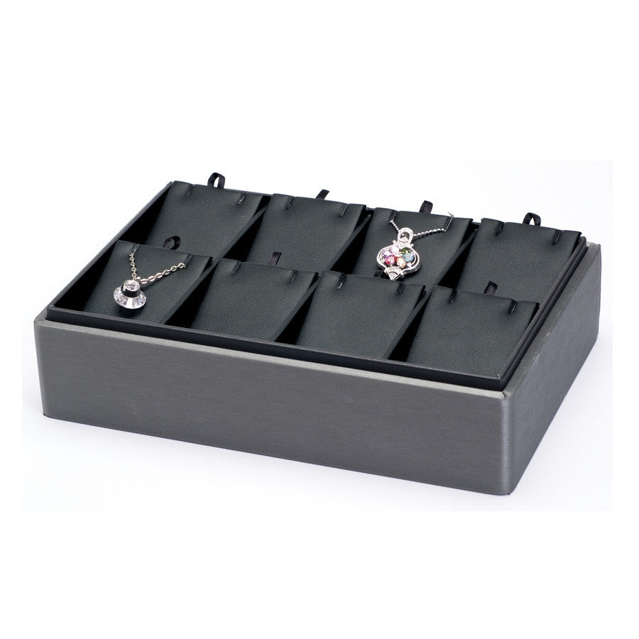 8 Pendant/Earring Steel Grey Leather Stackable Earring Tray - Jewel Box Co