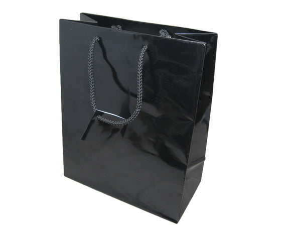 "9 3/4"" Glossy Black Jewelry Gift Bag - Jewel Box Co"