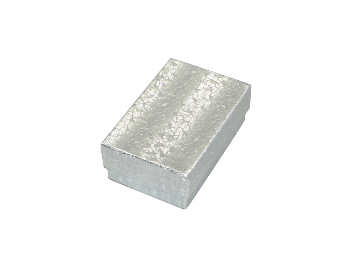 "2.5"" x 1.5"" Silver Cotton Filled Jewelry Box - Jewel Box Co"