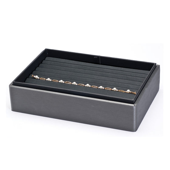 8 Bracelet Steel Grey Leather Stackable Tray - Jewel Box Co