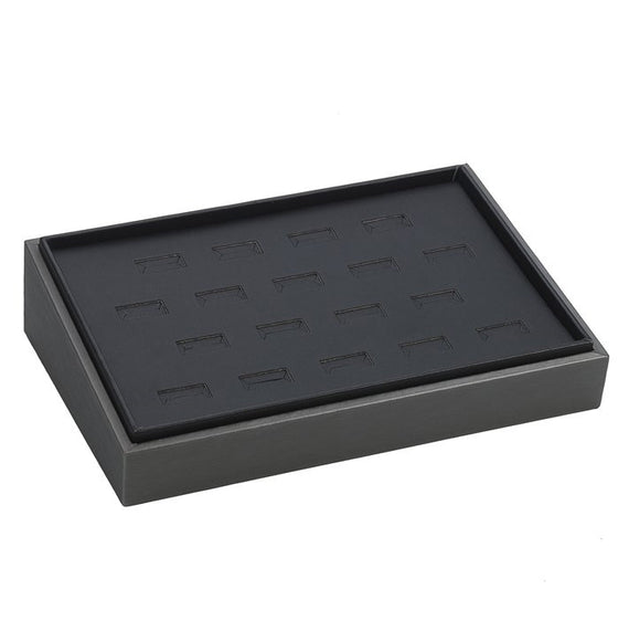 18-Slot Slanted Steel Grey Leather Stackable Tray - Jewel Box Co