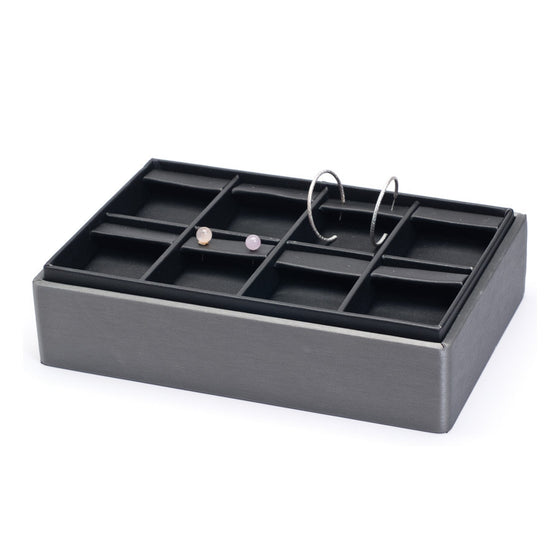8 Pair Steel Grey Leather Stackable Earring Tray - Jewel Box Co
