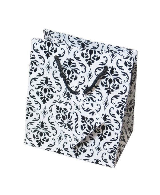 "4"" x 4 1/2"" Damask Jewelry Gift Bag - Jewel Box Co"