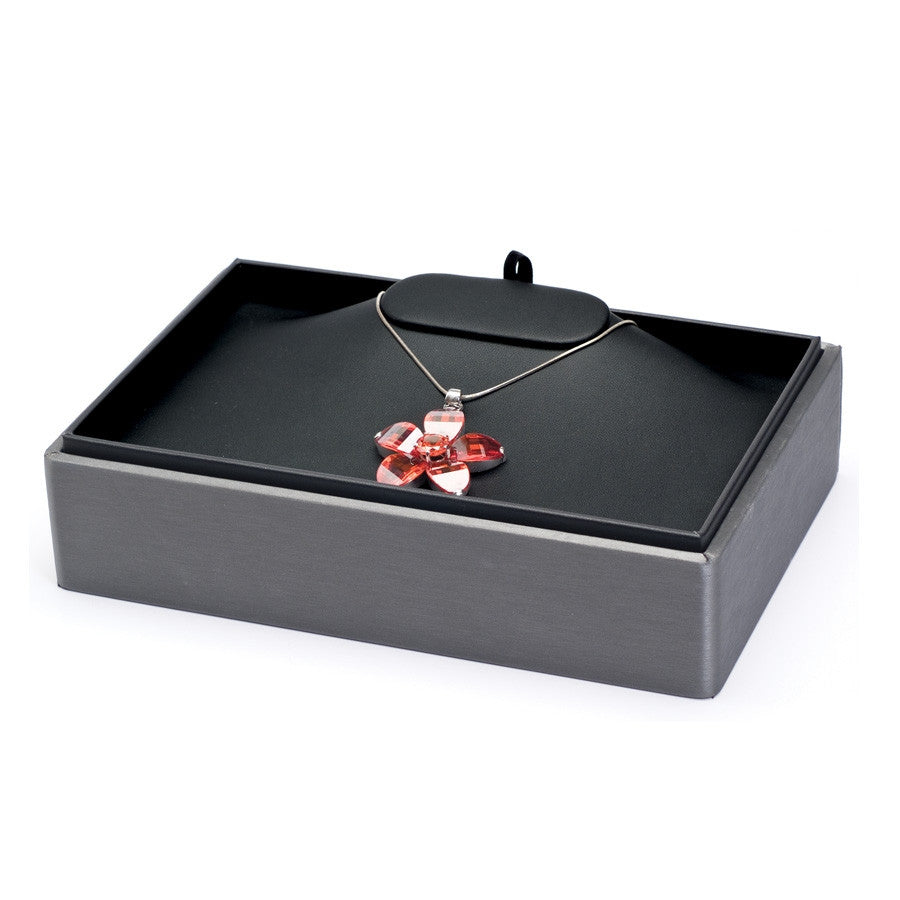 Single Necklace Steel Grey Leather Stackable Tray - Jewel Box Co