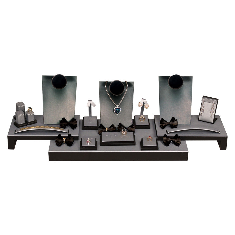 19-Piece Steel Grey Display Set with Black Leather Trim - Jewel Box Co