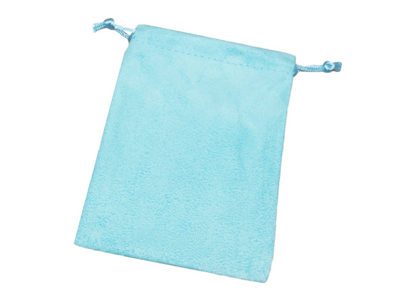 "4"" x 5"" Baby Blue Suede Drawstring Pouch - Jewel Box Co"
