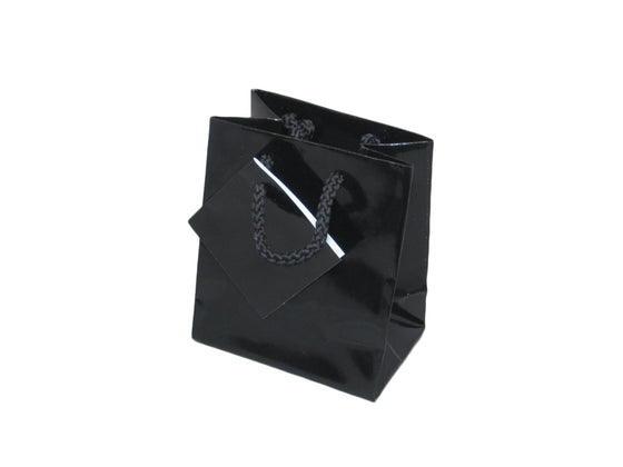 "3 1/2"" Glossy Black Jewelry Gift Bag - Jewel Box Co"