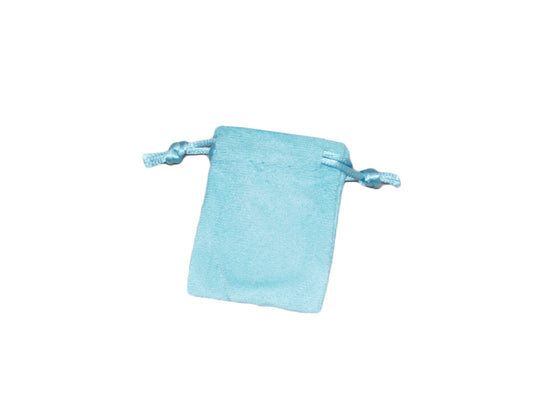 "1 3/4"" x 2"" Baby Blue Suede Drawstring Pouch - Jewel Box Co"