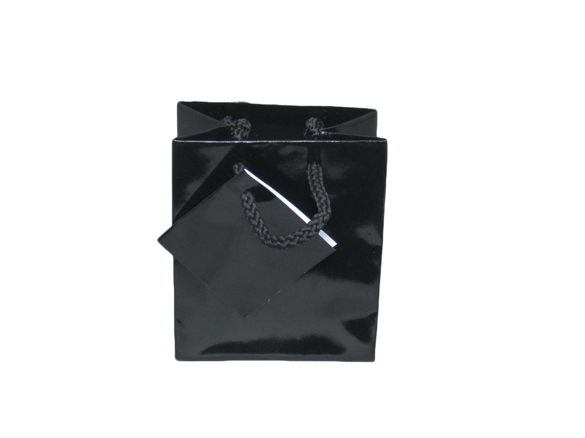 "3"" x 3 1/2"" Glossy Black Jewelry Gift Bag - Jewel Box Co"