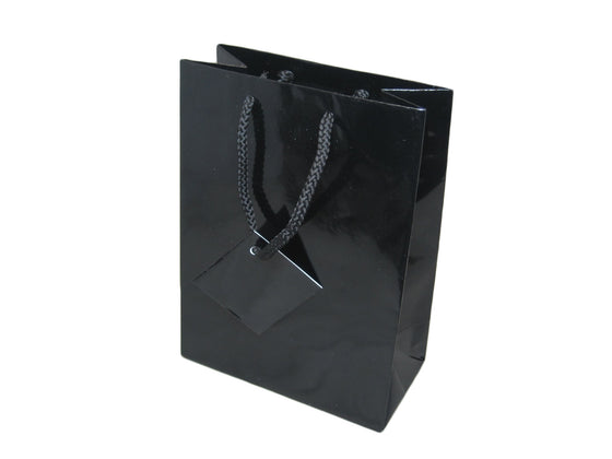 "4 3/4"" x 6 3/4"" Glossy Black Jewelry Gift Bag - Jewel Box Co"