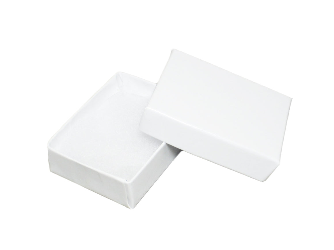 "2 1/8"" x 1 5/8"" Glossy White Cotton Filled Jewelry Box - Jewel Box Co"