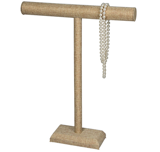 Tall Burlap Necklace T-Bar - Jewel Box Co