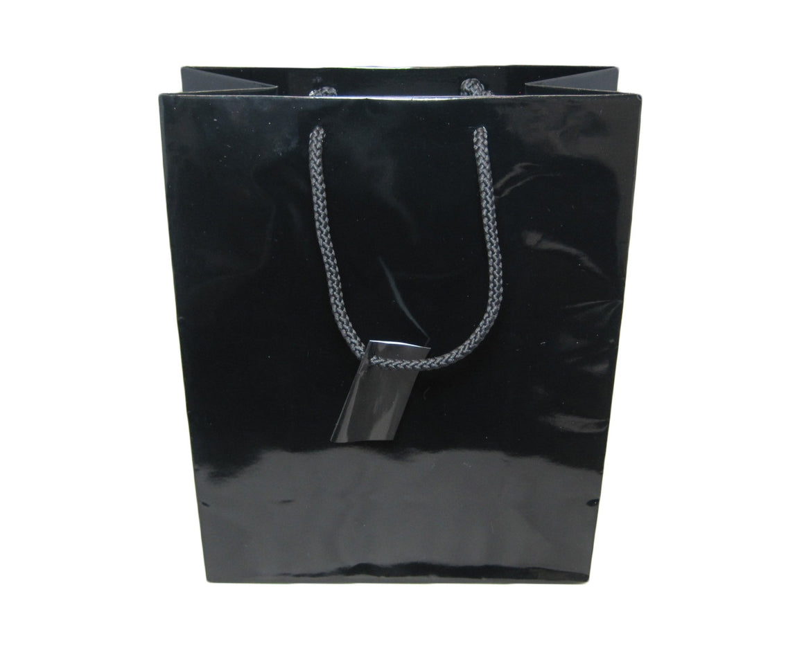 "8"" x 10"" Glossy Black Jewelry Gift Bag - Jewel Box Co"