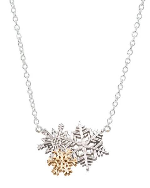 Gold and Silver Snowflakes on Attached Chain