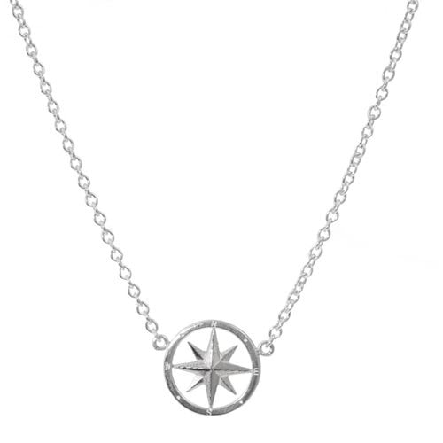 Sterling Compass Rose with attached chain