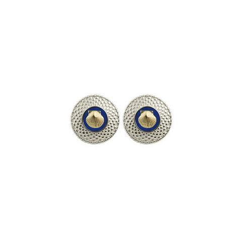 Round Nantucket Basket Earrings with 14K Scallop Shell