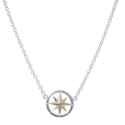 Sterling and 14K Compass Rose with attached chain