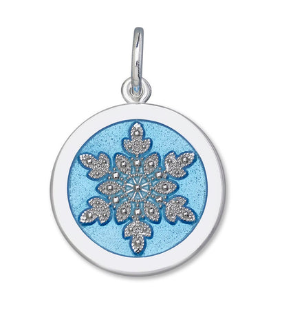 Light blue enamel on sterling snowflake