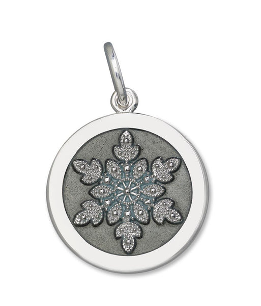 Pewter gray enamel on sterling snowflake