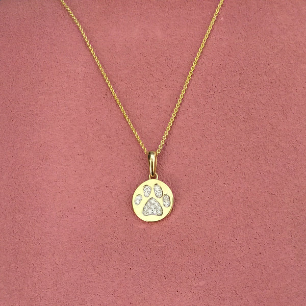 14K Yellow Gold and Diamond Paw Print Necklace