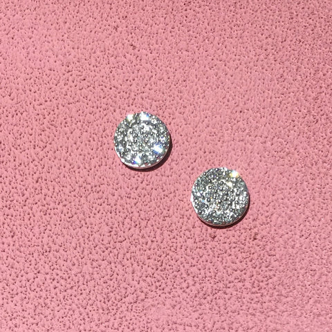 14K White Gold & Diamond Circle Earrings