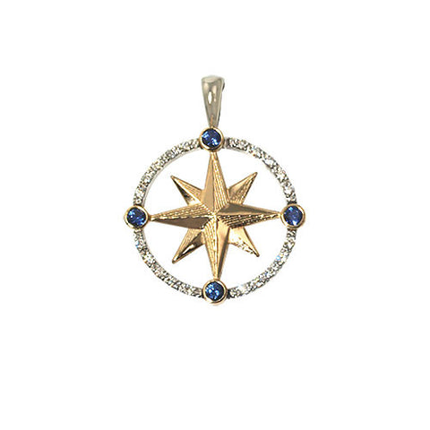 Compass Rose 14K gold, diamond & saphires