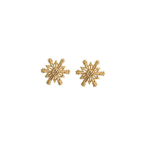 14 Karat Gold Snowflake Earrings