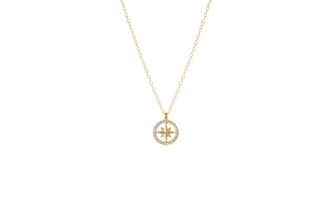 14K Yellow Gold & Diamond Compass Rose Necklace