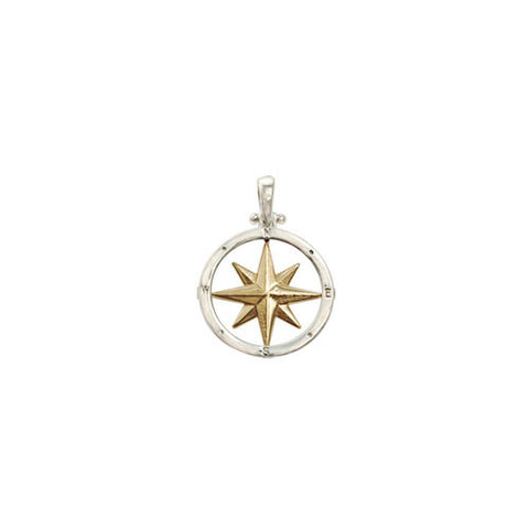 Compass Rose 14K gold framed in sterling