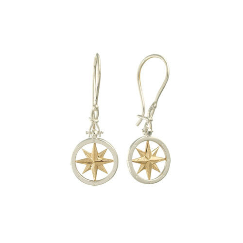 Compass Rose 14K Gold & Sterling Earrings