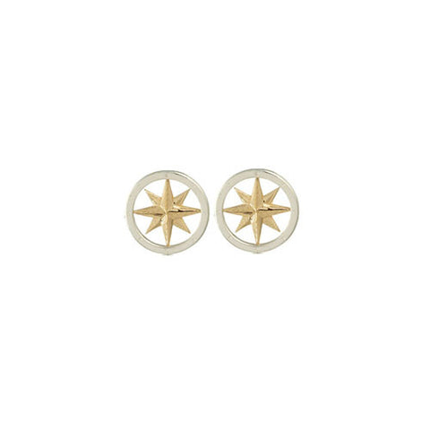 Compass Rose 14K Gold & Sterling Silver Post Earrings