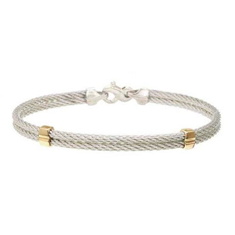 Double Stranded Cable Bracelet with 14K Bands