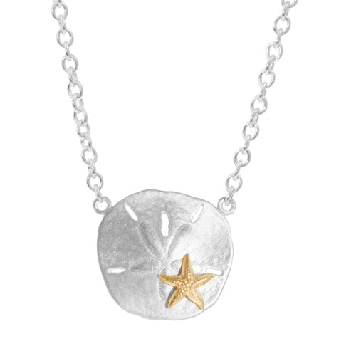 Sterling Sand Dollar with Gold Starfish Necklace