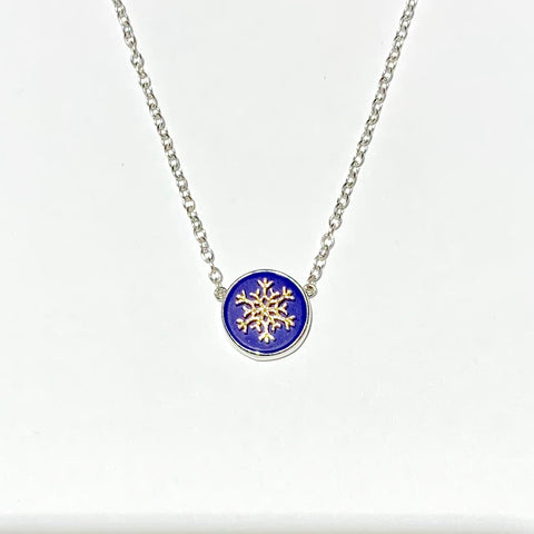Necklace of sterling silver and lapis with 14K or sterling snowflake