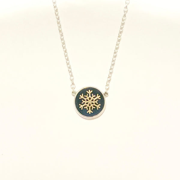 Onyx snowflake neclace with 14K gold or sterling snowflake