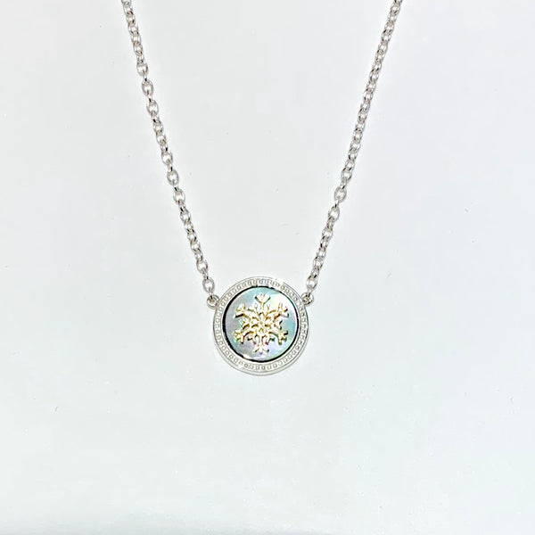 Sterling silver or 14K gold snowflake on white Mother-of-Pearl necklace