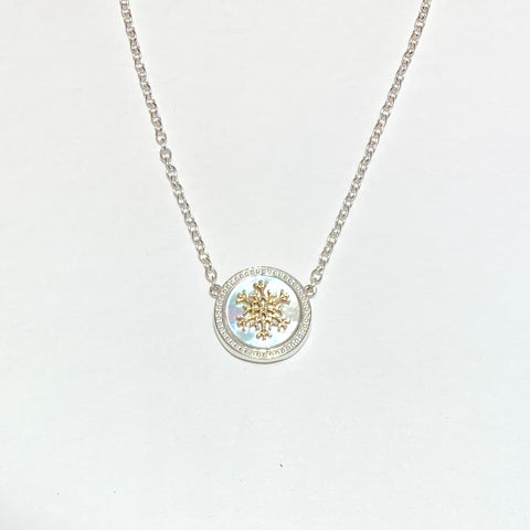 Necklace of sterling silver and gray Mother-of-Pearl with 14K or sterling snowflake