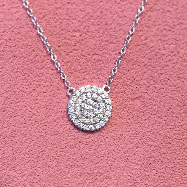 14K White Gold & Diamond Circle Necklace