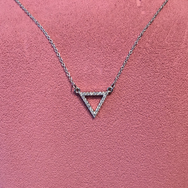14K White Gold & Diamond Triangle Necklace