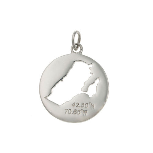 Map of Marblehead with Latitude and Longitude Charm/Pendant