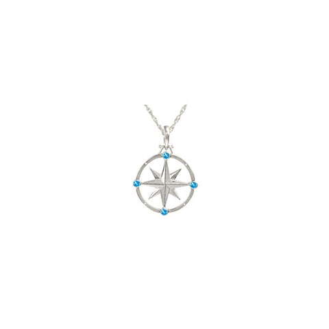 Large Sterling Compass Rose Necklace with Blue Topaz