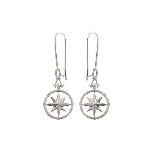 Compass Rose Sterling Silver Earrings