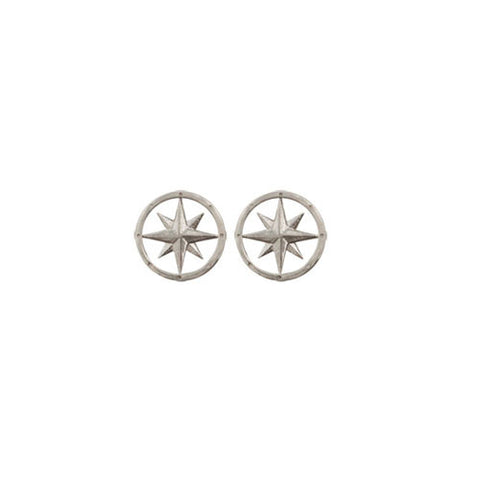 Compass Rose Sterling Silver Post Earrings