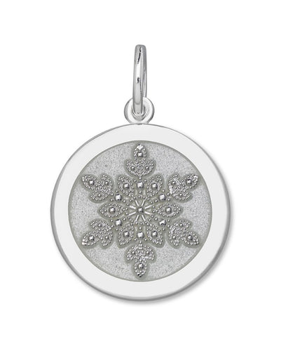Alpine white enamel on sterling snowflake