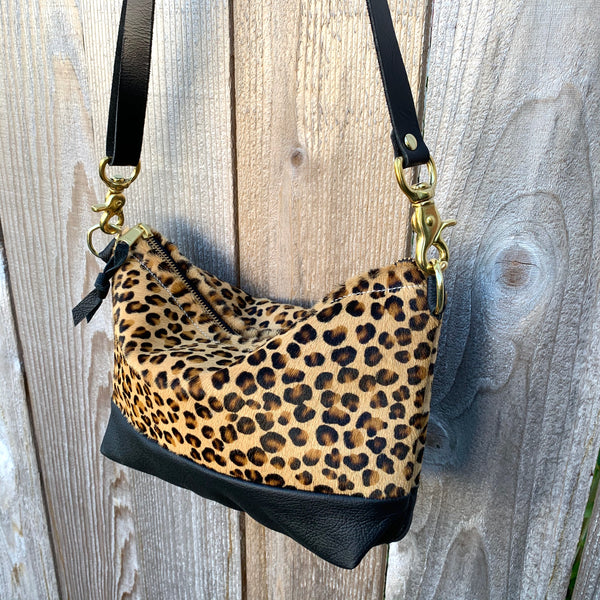 The Sutton Crossbody in hair on Leopard Print and Leather