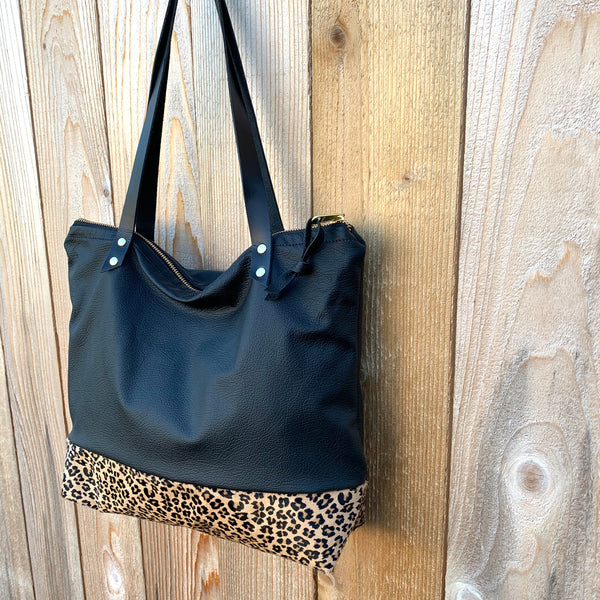 The Mercer Tote in Leather + Leopard - Meant Mfg.