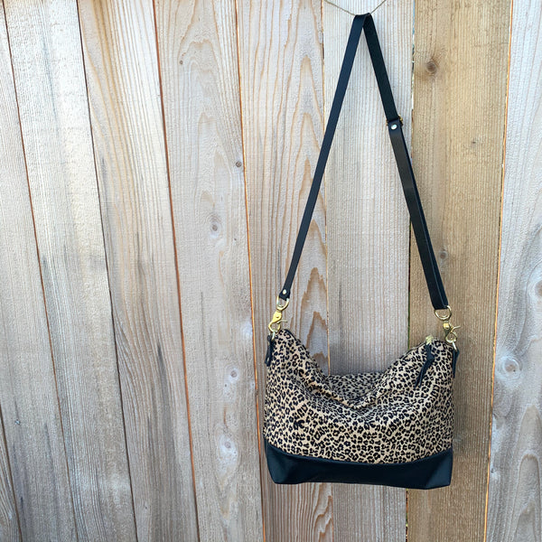 The Alsea Crossbody- Leopard Print & Leather - Meant Mfg.