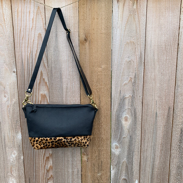 The Sutton Crossbody in Perforated Leather and Leopard - Meant Mfg.