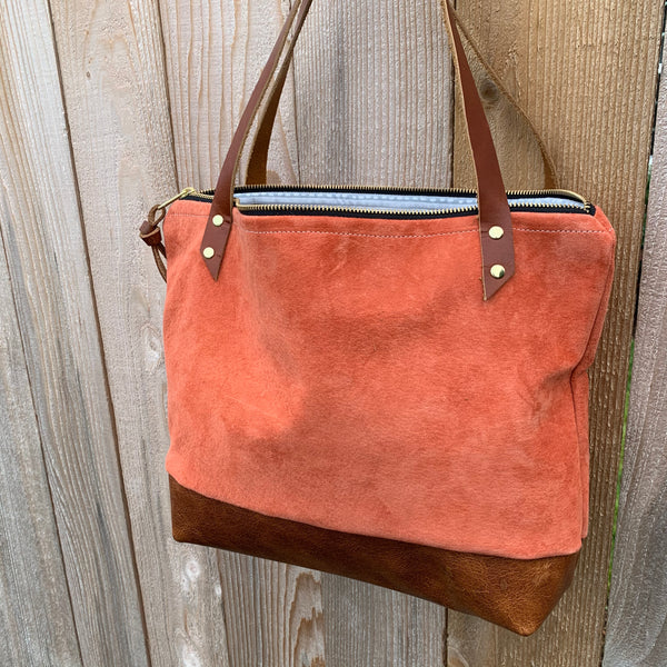 The Mercer Tote in  Leather + Suede