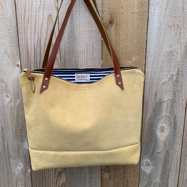 The Mercer Tote in  Leather + Suede - Meant Mfg.